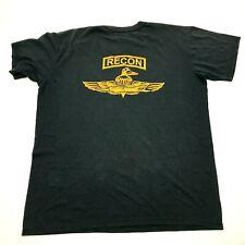 VINTAGE Recon Paratrooper Shirt Size Large L Black Tee Short Sleeve Mens 90s USA