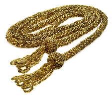 "Glass Tassel Lariat Necklace 55"" Antique Victorian Huge Gold Foil Seed"