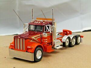 Dcp Custom orange/red Peterbilt 379 daycab 4 axle heavyhaul tractor 1/64