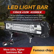 "15"" 432W PHILIPS Triple Rows Spot Flood Combo LED Work Light Bar ATV UTE SUV 16"""