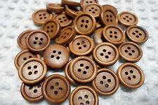 SCONTO!!!LOTTO STOCK 10  BOTTONI  CM 1,5  LEGNO COL. CAFFE'  4 FORI  BUTTONS
