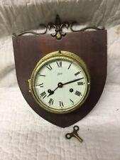 Vintage Brass Ship Strike Clock on Wood Shield SCHATZ made Germany Royal Mariner
