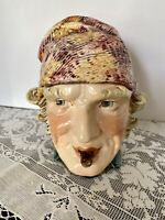 Antique German Majolica Humidor Tobacco Jar Figural Man's Head Smoking Cigar