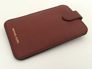 """New Michael Kors Pebbled """"Brick"""" Leather Phone Pouch"""