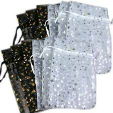 12 Pakdecorative Organza Gift Jewelry Pouches Black Withgold White Withsilver Stars