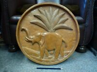 Vintage Large wooden wood round hand carved Indian Asian Elephant wall plaque