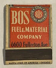 Vintage Matchbook Cover BOS Fuel & Material Company Koppers Chicago Coke