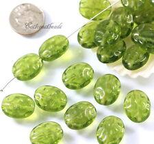 Oval Filigree Beads, 12X16mm, Ovine Green, Czech Glass Beads, 15 Beads