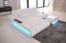 Eckcouch Designersofa Leder CONCEPT L Form modern Luxus Sofa Ottomane LED Couch
