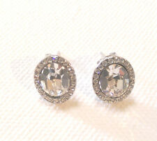 Formal Clear Crystal Stud Earrings: Silver Plated