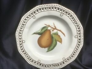 CHELSEA HOUSE porcelain DECORATIVE PLATE reticulated edge GOLD TRIM fruit pears