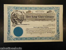 Vintage Unused Deer Lodge Livery Company stock certificate no. 45