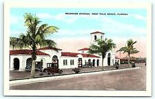 Postcard FL West Palm Beach Seaboard Railroad Station