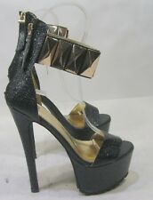 """black/gold 6.5""""high heel 2.5""""platform open toe ankle strap sexy shoes size 6"""