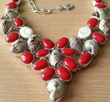 "BEAUTIFUL NATURAL SHELLS AND CORAL NECKLACE, 17 1/2"" LONG"