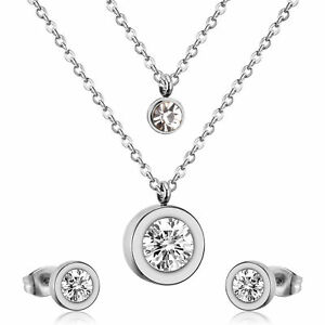 Jewelry Set Stainless Steel Ear Studs Earring Necklace Chain Noble