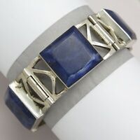 Vtg 1980s Signed Mexican Sterling Silver Sodalite Modernist 48gr Mexico Bracelet