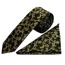 Black with Sage Green Floral Skinny Boys Tie and Handkerchief Set Kids Childrens