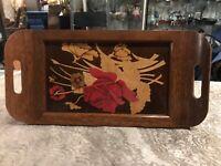 Vintage Inlaid Wood Floral Wood Tray