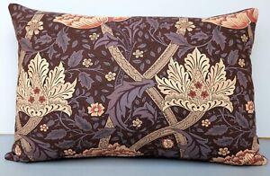 Vintage William Morris Cushion Cover Windrush Design in Aubergine/Wine Colourway