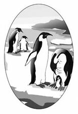 """4""""X 6"""" Penquins static cling etched glass window decal"""