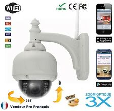 Wireless IP camera dome optical zoom 3X IRcut Etanche PTZ Vision Nocturne