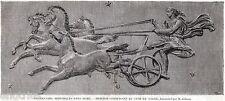 FETONTE GIUDA IL CARRO DEL SOLE,da un Bassorilievo.Mitologia. Stampa Antica.1859