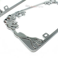 2 Chrome Metal Frog Custom License Plate Tag Frames for Auto-Car-Truck-SUV