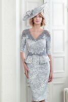 John Charles 26612 Blue Mother of the Bride Wedding Midi Cocktail Dress UK 10 38