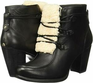 UGG WOMEN'S ANALISE EXPOSED FUR BLACK/NATURAL BOOT,US SIZE 8,EUR 39 M,NEW