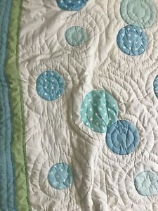 Pottery Barn Full Queen Quilt PB Teen White Polka Dotted Blue Green CUTE!!