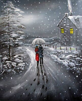 100%Hand-painted Art Oil Painting Snowy Landscape 16*20inch Signed canvas Figure