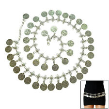 Silver Plated Metal Hippie Flower Bohemian Shimmy Belt Dance Body Chain Coin