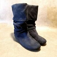 Trend Report Womens Lini  Sz 7 M Blue  Suede Mid Calf Slouchy Boots