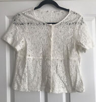 WHITE VINTAGE STYLE LACE BLOUSE PEARL BUTTONS SIZE 10 VGC