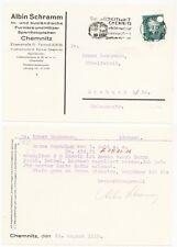 CHEMNITZ, Postkarte 1929, Albin Schramm In- u. Ausländ. Furniere und Hölzer Sper