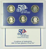 2001 US Mint Clad State Quarter Proof Set 5 Gem Coins w/ Box & COA