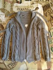 VIVIENNE WESTWOOD GOLD LABEL CABLE KNIT TAUPE 100% MERINO WOOL CARDIGAN SIZE S