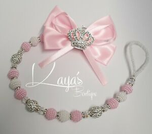 *Diamante Crown* Bling Big Bow Romany Dummy Clip Girl Personalised Pink Silver