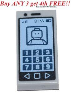 ☀️NEW LEGO CELL PHONE ~ Printed Lt Bluish Gray 1x2 Minifigure MP3 iPod Tile