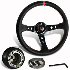 JDM 350mm Black PVC Leather Red Ring Racing Steering Wheel +Hub For Toyota Scion