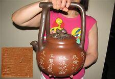 GIGANTIC 41cm 3.7kg CHINESE YIXING ZISHA SCHOLAR CARVED POETRY TEAPOT