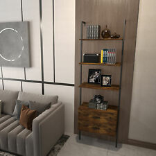 Industrial Ladder Shelf With2 Drawers 3 Tier Wall Mounted Bookcase Open Bookshelf