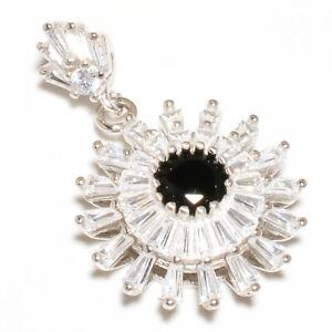 "Black Onyx & White Topaz Gemstone 925 Sterling Silver Pendant Jewelry 1.25"" T883"
