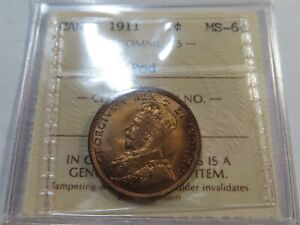 Q1 Canada 1911 Large Cent ICCS MS-64 FULL RED