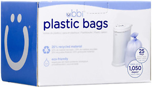 Ubbi Disposable Diaper Pail Plastic Bags, Made with Recyclable Material, Single
