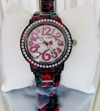 Betsey Johnson Roses Crystal Bezel Bracelet Watch Pink BJ00482-10 NWT