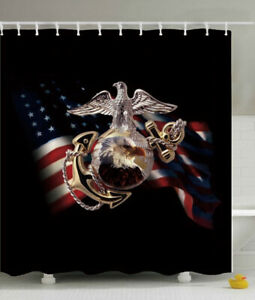 USMC Marines Shower Curtain 70x70 Fabric w/Hooks