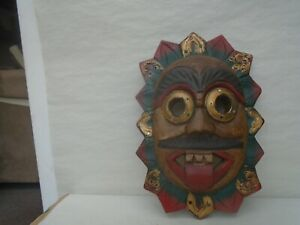 Rather unusual painted wooden wall mask  ODD STRANGE UNUSUAL MASK