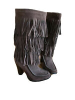 Lauren Ralph Lauren Womens Boots Brown Suede Fringe Heeled Mid Calf Size 6M